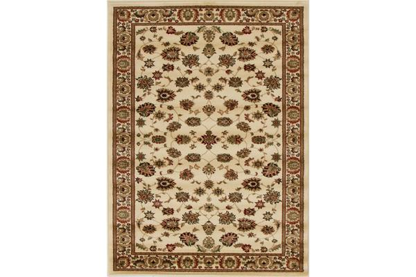 Traditional Floral Pattern Rug Ivory 330x240cm