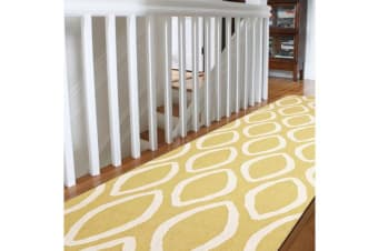 Flat Weave Oval Print Runner Rug Yellow
