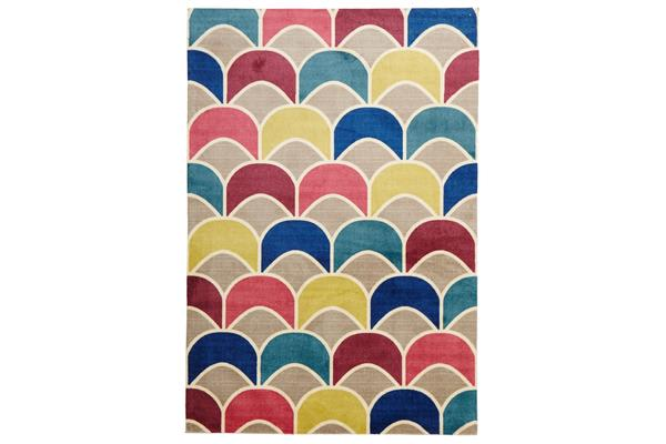Fish Scale Design Rug Raspberry Blue 220x150cm
