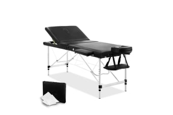 Portable Aluminium 3 Fold Massage Table Chair Bed (Black) 60cm