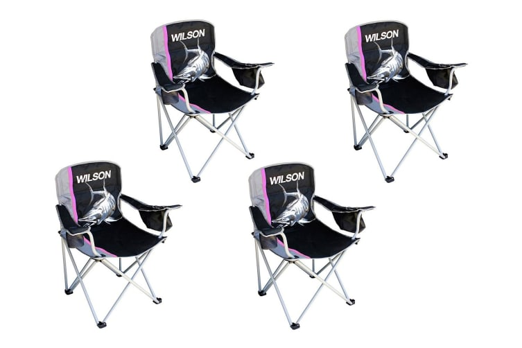 4 x Wilson Deluxe Pink Camping/Fishing Chairs with Lined Cooler Bag and Cup Holder