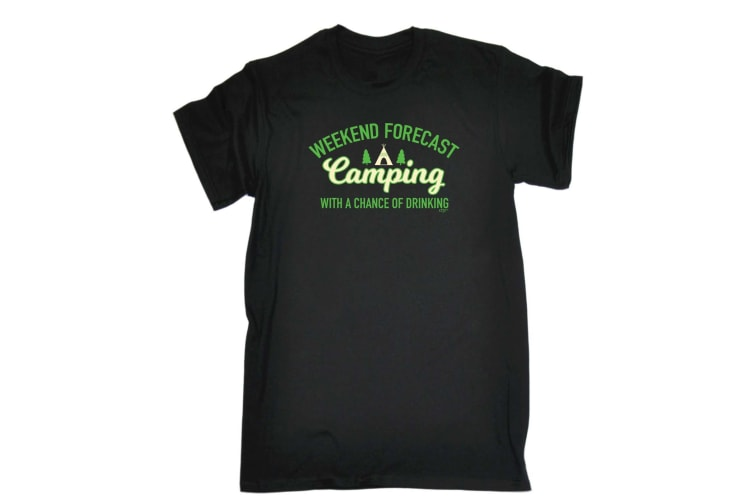 123T Funny Tee - Camping Drinking - (Small Black Mens T Shirt)