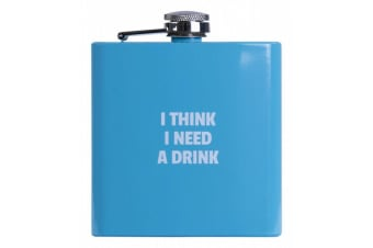 Hip Flask Alcohol Travel Bottle Portable Drinkware Stainless Steel Colours Fun - Blue