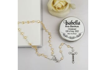 Christening Pearl Heart Rosary Beads Personalised Tin