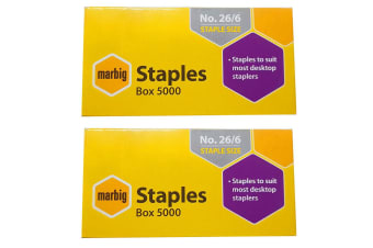 2PK Marbig Staples 26/6 Box 5000 for Staplers/Papers Office/Home Use/Essentials
