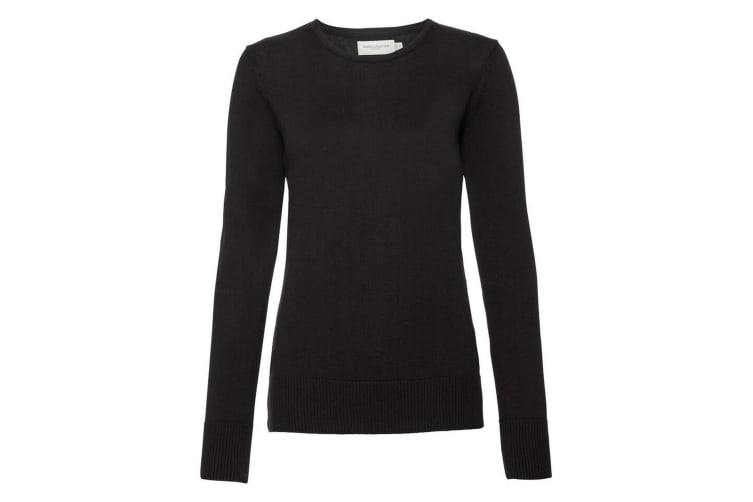 Russell Collection Womens/Ladies Crew Neck Knitted Pullover Sweatshirt (Black) (2XL)