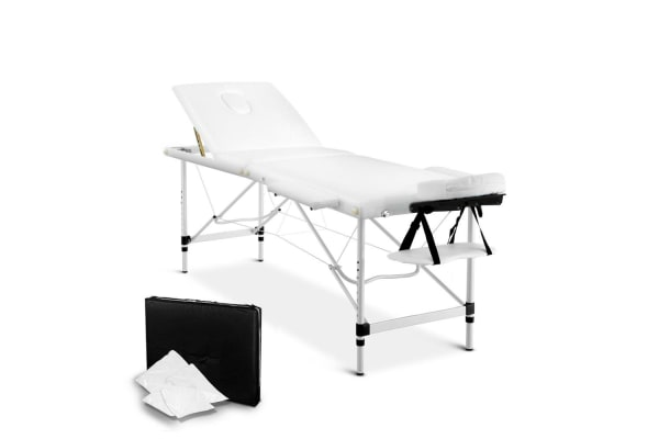 Portable Aluminium 3 Fold Massage Table Chair Bed (White) 60cm