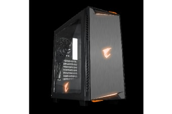 Gigabyte AC300W ATX Mid-Tower PC Gaming Case 2x3.5' 5x2.5' RGB Transparent Window VR Link HDMI USB-C I/O Detachable Dust Filter Black Steel Plastic