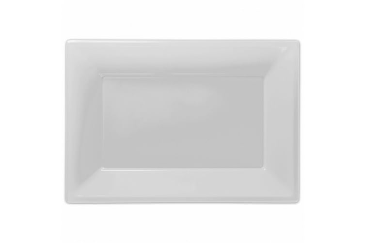 Amscan Plastic Rectangular Party Platters (Pack Of 3) (Frosty White) (One Size)
