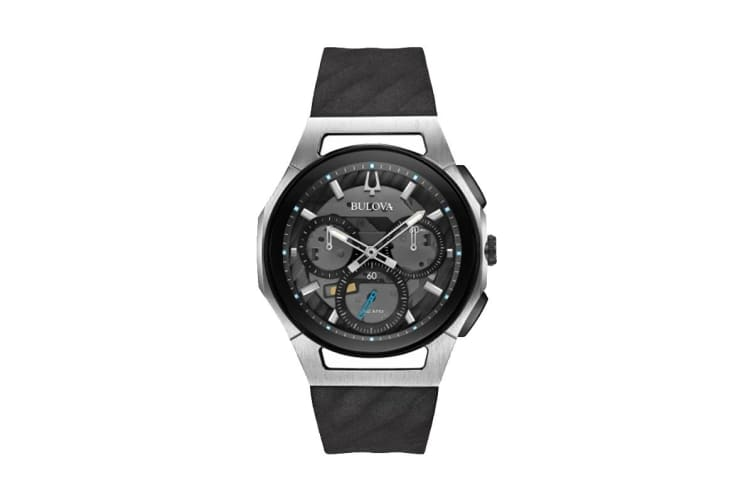Bulova Men's 44mm Analog High Performance Quartz Curv Chronograph Watch with Rubber Band - Black/Stainless Steel (98A161)