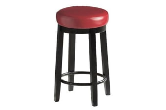 2pcs PU Leather Swivel Bar Stool in Red 65CM Height