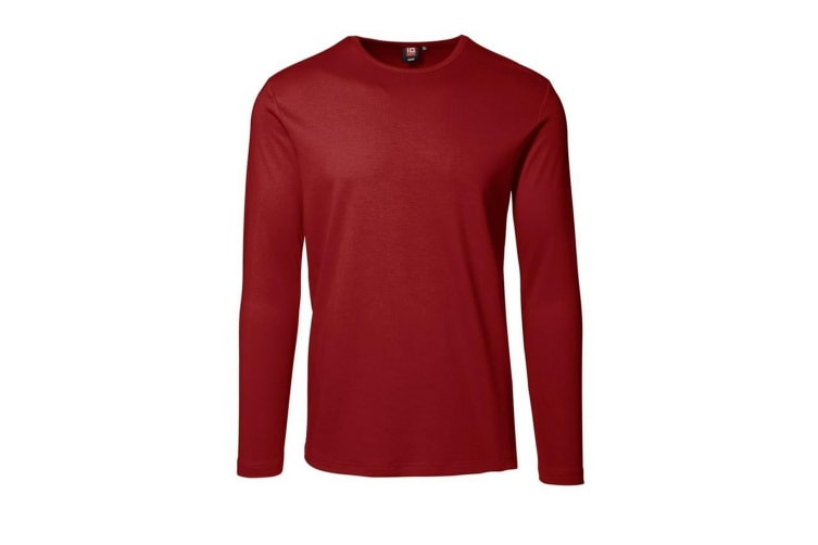ID Mens Long Sleeve Slimline Fitted Interlock T-Shirt (Red) (2XL)