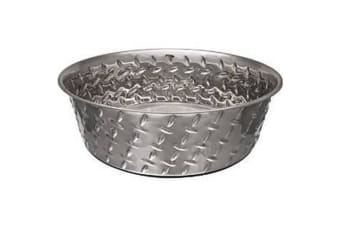 Loving Pets Diamond Plate Dog Bowl With Rubber Base (Silver)