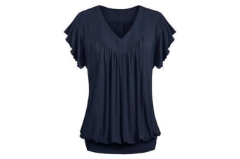 Women's V Neck Short Sleeves Front Pleated Tunic Shirts Blouses Top S