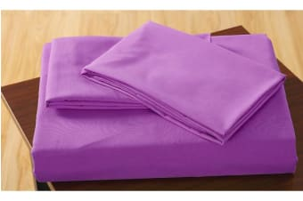 Polyester 3 Piece Bed Fitted Sheet + Pillowcase King Purple