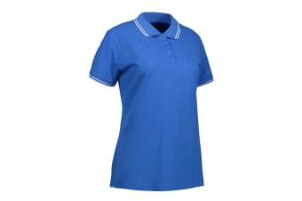ID Womens/Ladies Stretch Contrast Polo Shirt (Azure) (L)