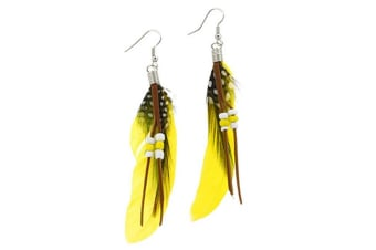Cute Handmade Natural Goose Feather Earrings Yellow