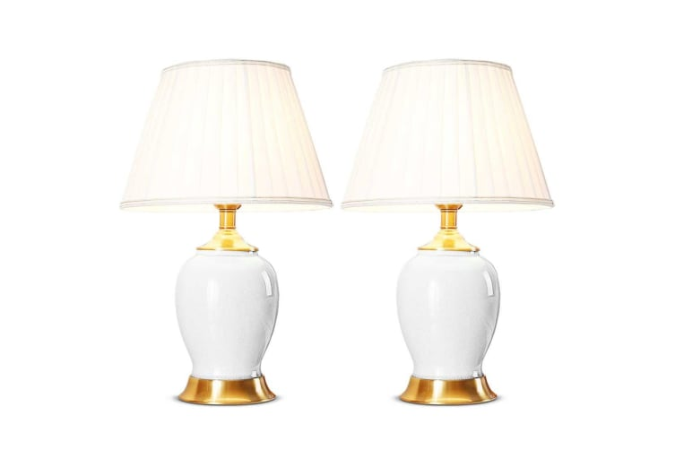 SOGA 2x Ceramic Oval Table Lamp with Gold Metal Base Desk Lamp White