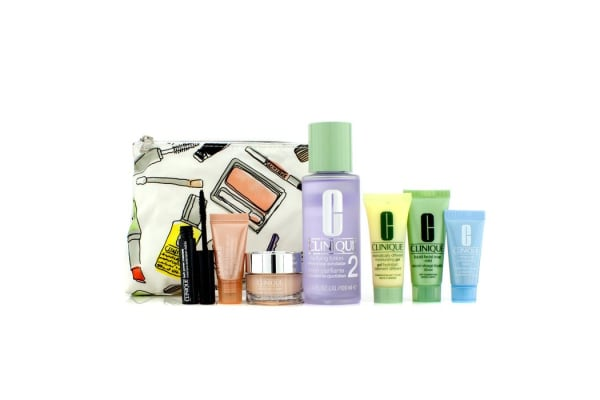 Clinique Travel Set: Liquid Soap + Clarifying Lotion #2 + DDMG + Moisture Surge + Turnaround Concentrate + All About Eyes Serum + Mascara + Bag (7pcs+1bag)