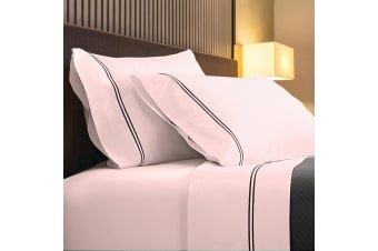 Renee Taylor 1000TC Sorrento Sheet Set Cotton Soft Touch Hotel Quality Bedding - Queen - Blush