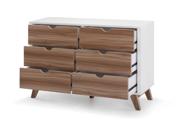 Ovela Chest of 6 Drawers - Finse Collection (White & Dark Birch)