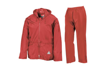 Result Mens Heavyweight Waterproof Rain Suit (Jacket & Trouser Suit) (Red)