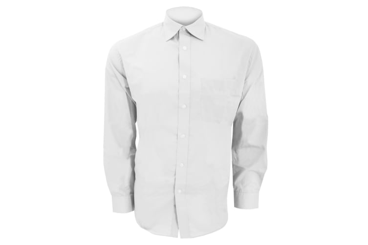 Kustom Kit Mens Long Sleeve Business Shirt (White) (17inch)
