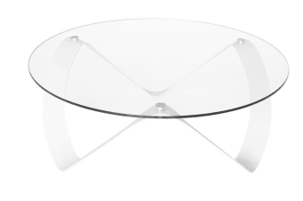 Horizon Round Glass Coffee Table | White
