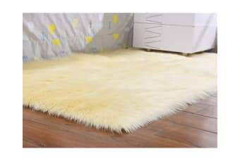 Super Soft Faux Sheepskin Fur Area Rugs Bedroom Floor Carpet Beige 90*90