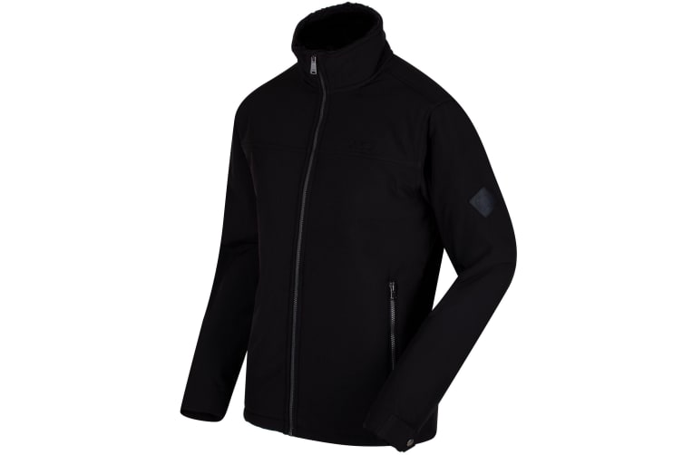 Regatta Mens Castiel Windproof Softshell Jacket (Black) (XL)