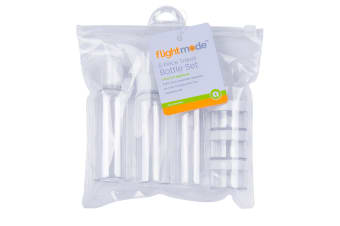 6pc Flight Mode Plastic Travel Bottle Set Container Refillable Storage Clear
