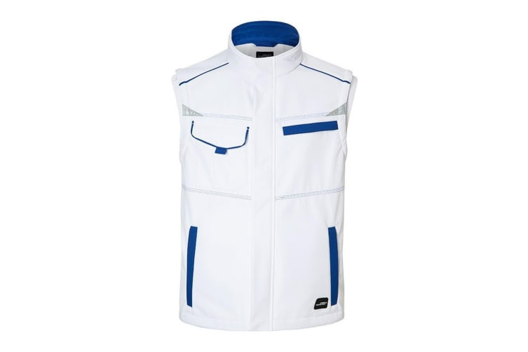 James and Nicholson Unisex Workwear Softshell Vest Level 2 (White/Royal Blue) (3XL)