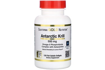 California Gold Nutrition, Antarctic Krill Oil with Astaxanthin RIMFROST Natural Strawberry & Lemon Flavour - 500 mg, 120 Fish Gelatin Softgels