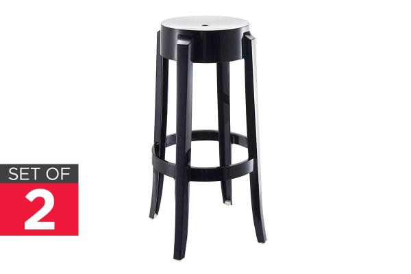 Ovela Set of 2 Replica Phillippe Starck Ghost Stools (Black)