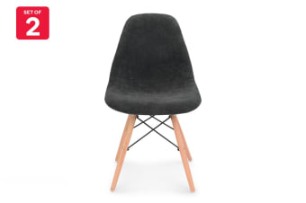 Shangri-La Set of 2 Eiffel DSW Fabric Dining Chairs - Eames Replica (Dark Grey)
