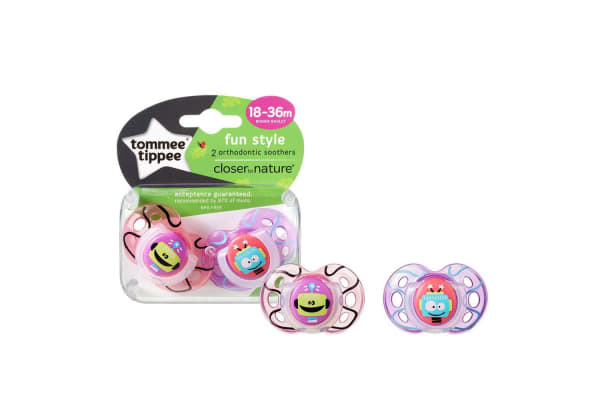 Tommee Tippee Closer to Nature Fun Time Soother 2 Pack - Girl - 18 to 36 Months