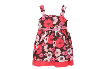 Girls Floral Pattern Summer Wear Dress (Pink (As Shown))