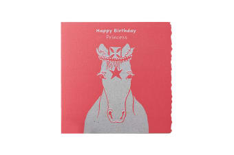 Deckled Edge Colour Block Pony Greetings Card (Happy Birthday Princess - Princess Pony (Red))