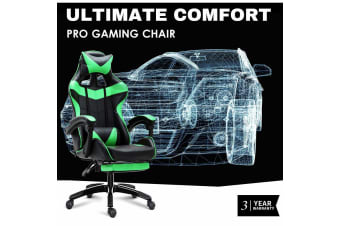 Ultimate Comfort Pro Gaming Chair Racing Office Chair Green with Footrest