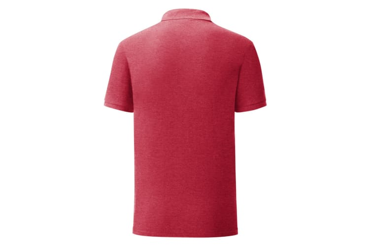 Fruit Of The Loom Mens Iconic Pique Polo Shirt (Heather Red) (S)