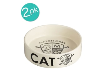 2PK Mason Cash Coat Of Arms 14cm Cat Bowl Food Travel Portable Feeding Drinking