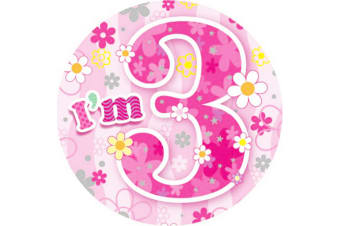 Expression Factory Childrens Girls I Am 3 Today Giant Badge (Pink)