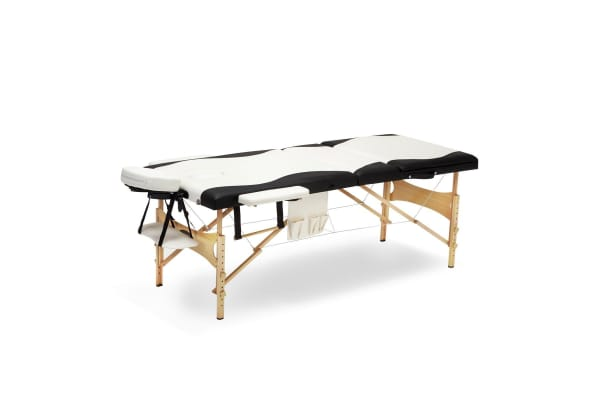 75 CM Black and White Portable Wooden Massage Bed