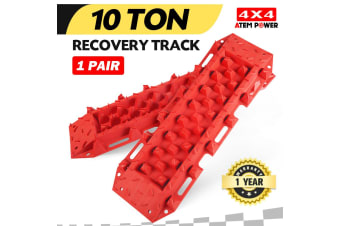 ATEM POWER Pair 4WD Recovery Tracks 10T Pair Off Road 4x4 ATV Snow Mud Sand Track 10 tons Red