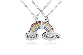 2 Pcs Rainbow Cloud Stitching Best Friends Pendant Necklace For Good Friend's Gift P000125