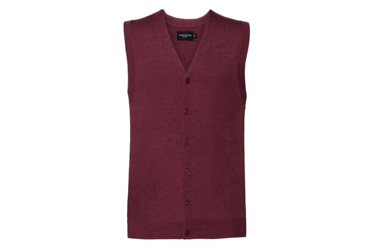 Russell Collection Mens V-neck Sleeveless Knitted Cardigan (Cranberry Marl) (2XS)