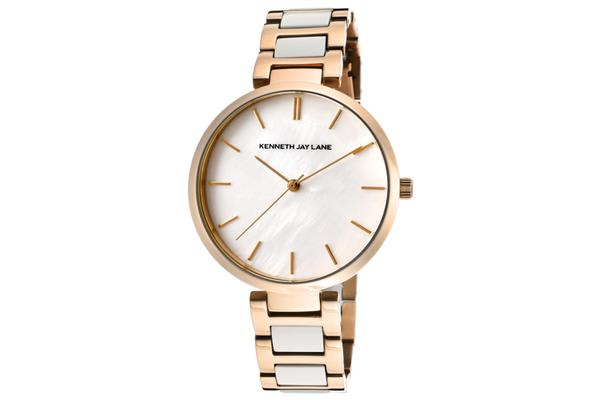 KJ LANE Women's White Mother Of Pearl Dial Rose Gold Tone IP SS & White Resin (KJLANE-1718)