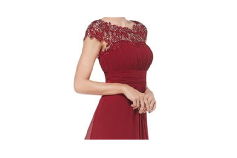 Womens Cap Sleeve Lace Neckline Ruched Bust Evening Gown Red L
