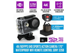Elinz 4K/60FPS UHD Sports Action Camera 170 degree Waterproof WiFi Remote Control Sony 1080P 32GB