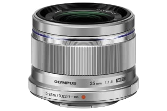 Olympus M.Zuiko Digital 25mm f/1.8 Lens Micro 3/4 Mount for Camera - Silver